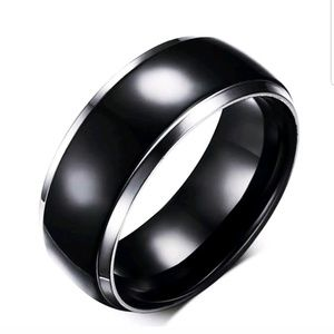 8mm Titanium Ring Band Stainless Steel Gothic